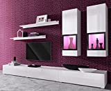 Duros Entertainment Center / Contemporary Design Wall Unit / With or Without Multicolor LED Lighting system (White WITHOUT LEDS)