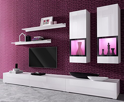 Duros Entertainment Center / Contemporary Design Wall Unit / With or Without Multicolor LED Lighting system (White WITHOUT LEDS) (Piece Unit Wall Three Entertainment)
