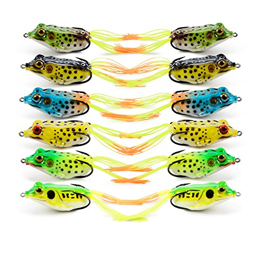 Supertrip Topwater Frog Crankbait Tackle Crank Bait Bass Soft Swimbait Lures Crankbaits Baits Hard Bait Fishing Lures Color 12pcs (River Lures Fishing Bait)