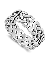 Oxidized Eternity Celtic Knot Infinity Ring .925 Sterling Silver Band Sizes 5-14