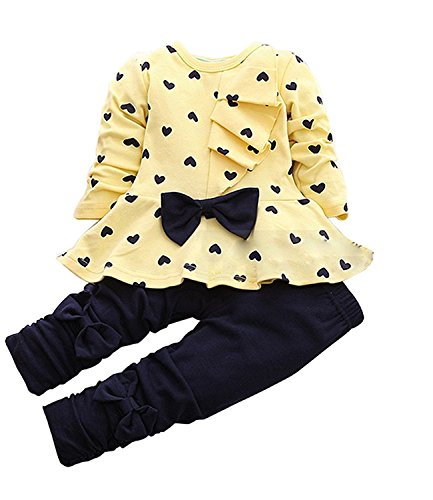 CM-Kid Little Girl Outfits Heart Pant Sets Bowknot Top & Pants Toddler 2pcs Suit (3-4 Years, - To Uk Usps From Us Shipping