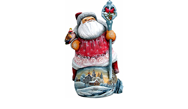 G Debrekht Bundle Of Cheer Santa Carved Wood And Hand Painted Figurine Home Kitchen