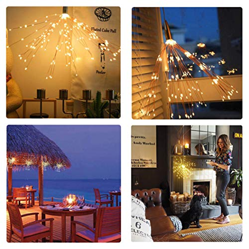 PXB 2 Pack Starburst Sphere Lights,200 Led Firework Lights, 8 Modes Dimmable Remote Control Waterproof Hanging Fairy Light, Copper Wire Lights for Patio Parties Christmas Decoration (Warm White) by PXB (Image #6)