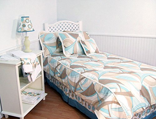 Aqua Swirl Twin 5 Piece Bedding Set (Aqua Terra Bath Collection)