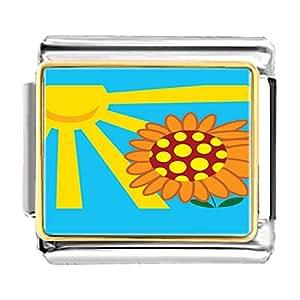 Chicforest Gold Plated Sunflower In Sunlight Bracelet Link Photo Italian Charm