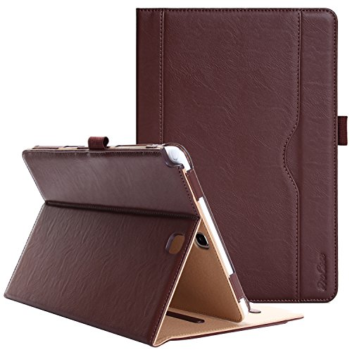 ProCase Samsung Galaxy Tab A 9.7 Case - Standing Cover Folio Case for 2015 Galaxy Tab A Tablet (9.7 inch, SM-T550 P550), with Multiple Viewing angles, auto Sleep/Wake, Document Card Pocket (Brown)