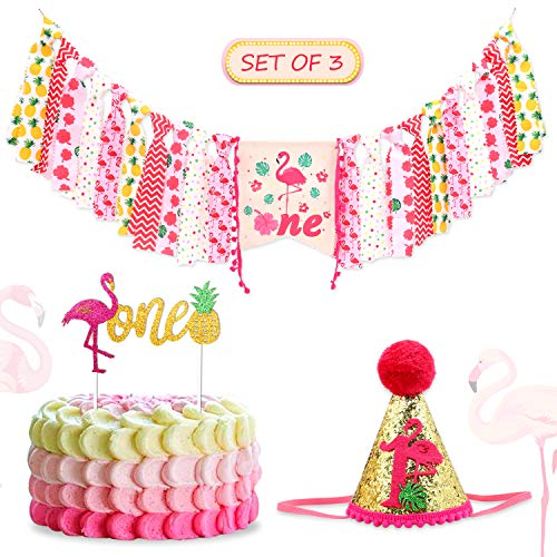 Flamingo 1st Birthday High chair Banner Pineapple One Cake Topper Hat set for Baby Girls Pink Tropical First Party Decorations Photo Prop Cake Smash Supplies