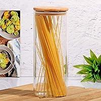 Ksv bambu kapaklı cam kavanoz - erzak kavanozu 26 cm