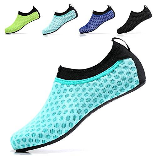 Sixspace Unisex Water Shoes Barefoot Beach Shoes Aqua Socks for Swim Pool Surf Yoga,Light Blue 41/42