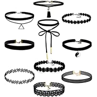 Hunputa 10PCS Womens Black Velvet Choker Necklace for Women Girls Lace Choker Tattoo Necklace
