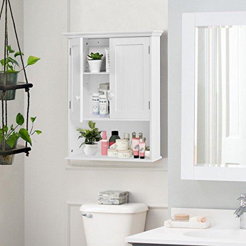Moon_Daughter VD-53984HW Wall Mount Bathroom Open Shelf Storage Organizer Medicine Cabinet Kitchen Laundry, White