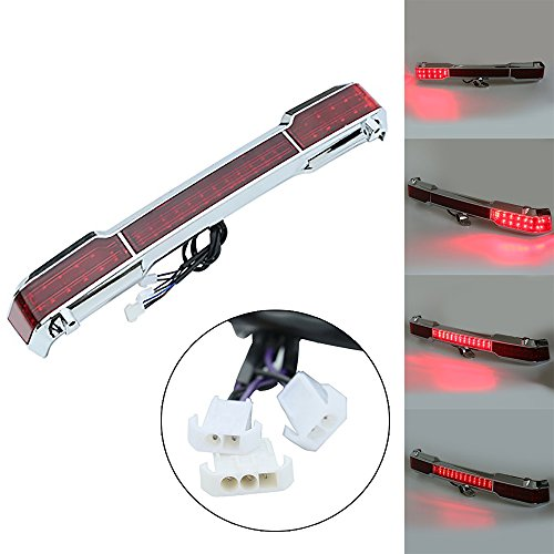 - XMT-MOTO Chrome Red LED Tail Light For Harley Touring Trunk King Tour Electra Glide 1997-2008
