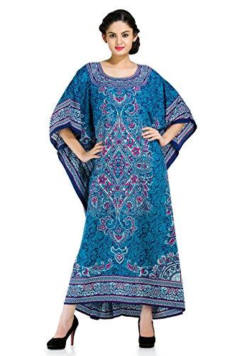 Floral Print Kaftan - Goood Times Long Caftan Dress Blue Maxi Floral Kaftan,Blue,Large