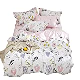 VClife Queen Bedding Sets Chic Floral Pattern Duvet Cover Sets - Reversible Cotton Pink White Botanical Branch Printed Bedding Collection, Hypoallergenic, Lightweight, Breathable, Soft Plush, Queen