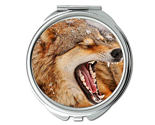 Yanteng Flying Pig Men Mirror,Makeup Mirror,Snow Winter Animal Wolf,Pocket Mirror,1 X 2X -