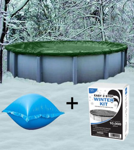 Winterizer Kit (TimmyHouse 18' Round Above Ground Winter Pool Cover + 4'x4' Air Pillow + Winterizin​​g Kit)