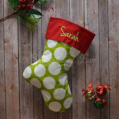 Personalized Polka Dot Christmas Stocking - Chartreuse Green and White Polka Dots with Red Stocking Cuff and Optional Embroidered Name - Handmade by Snuggles of Love