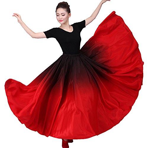 8cb4c809759fc Performance Silky Feeling Black Red Gradient Spain Bull Belly Dance Circle  Skirt Prom Evening Party Dress (Black top). Flamenco, Flamenco Dresses ...