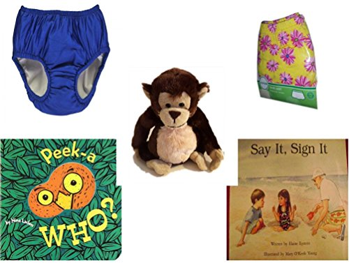 Children's Gift Bundle - Ages 0-2 [5 Piece] - My Pool Pal Reusable Swim Diaper, Royal Blue 24 Months, 18-25 Pounds - Circo Infant Girls Swim Skirt Pink Daisy Size L 18 Months 22-25 lbs - Ganz Adorab by Secure-Order-Marketplace Gift Bundles
