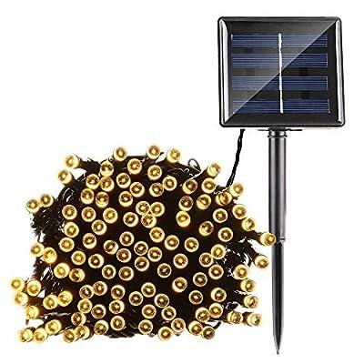 Qedertek Solar String Lights 72ft 200 LED Fairy Christmas Lights, 8 Modes Ambiance Lighting for Outdoor, Patio, Lawn, Landscape, Fairy Garden, Home, Wedding (Warm White)