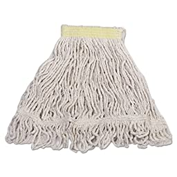 Rubbermaid Commercial Products D211WHI Super Stitch Looped-End Blend White Mop - Small