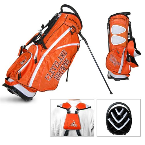 Team Golf NFL Cleveland Browns Fairway Golf Stand Bag, Lightweight, 14-way Top, Spring Action Stand, Insulated Cooler Pocket, Padded Strap, Umbrella Holder & Removable Rain ()