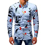 Pervobs Mens Long Shirts, Big Promotion! Man Fashion Printed Casual Multicolor Long Sleeve Slim Shirts Tops Blouse (M, Color 10)
