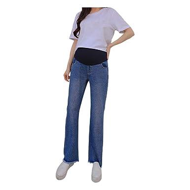 c94aa0c6f2e14 Hzjundasi Maternity Jeans - Women Pregnant Soft Pants Adjustable Care  Casual Elastic Denim Trousers Over The Bump: Amazon.co.uk: Clothing