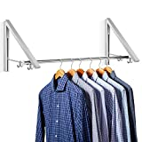 INTEY Clothes Hanging System, Folding Clothes Hanger, Retractable Wall Mounted Clothes Rack, Aluminum, Easy Installation (2 Pack + Folded stainless steel tube)