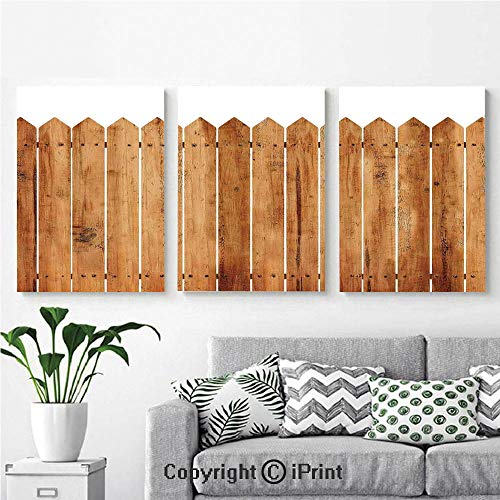 Modern Salon Theme Mural Triangle Edged Timber Border Stripes Siding Woodwork Enclosing Tool Image Painting Canvas Wall Art for Home Decor 24x36inches 3pcs/Set, White Brown