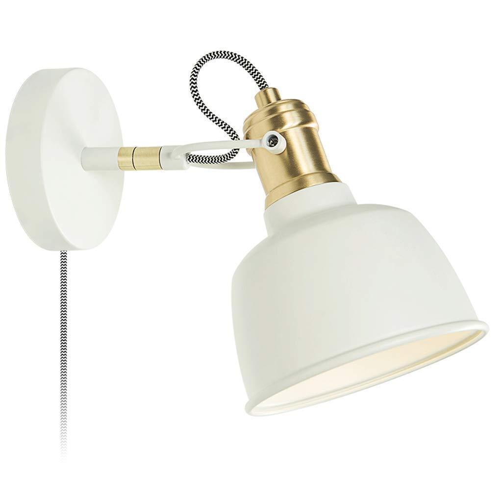 Nordic moderne Schlafzimmer Nachttischlampe Leselampe Schmiedeeisen mit Schalter Wandleuchte LED-Lichtquelle blau weiße Wandleuchte (Farbe   Weiß)