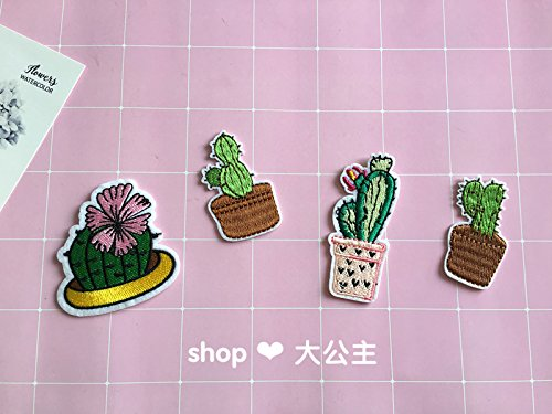 Sen Deparent of Pastoral custom embroidery potted cactus cactus flower brooch pin badge shock Meng PDA accessories fabric sticker