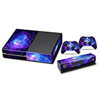 Skins Stickers for Xbox One - Custom Xbox One Console And Remote Controller Protective Vinyl Decals Covers - Leather Texture Protector Accessories Fit Xbox 1 Controller And Bundle - Blue Purple Lines