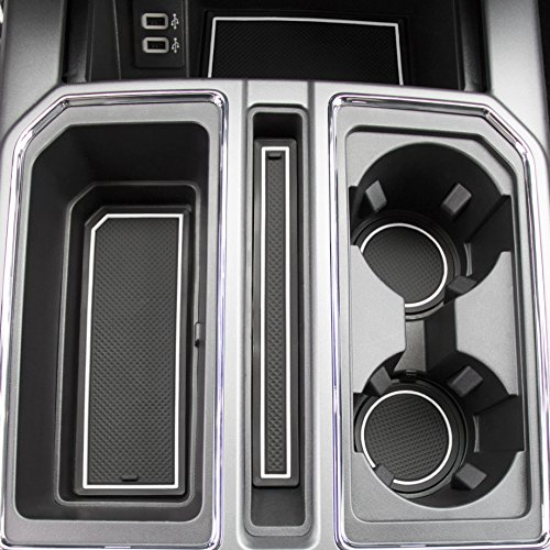 2017 2018 Ford F-150 Custom Fit Cup Holder and Door Liner Accessories F150 28-pc Set (Super Crew) (White Trim)