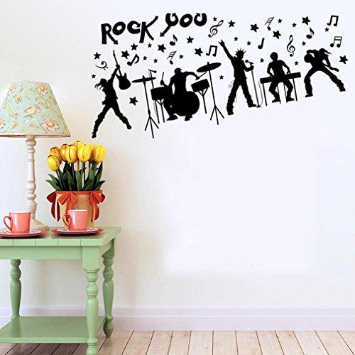 BIBITIME Bar KTV Wall Decal Rock Band Music Stars Guitar Bass Drum Electronic Organ Instruments Vinyl Sticker Musical Notes Decor Home Art Mural