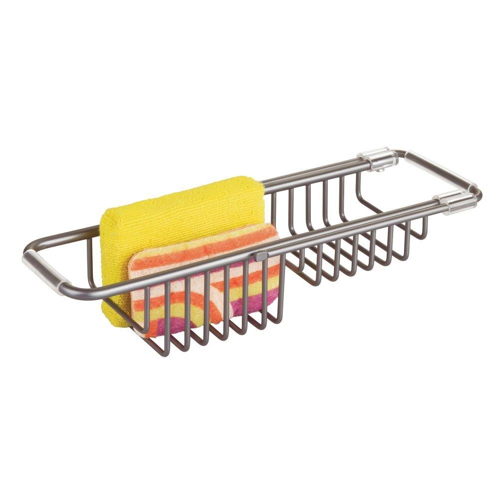 gris grafito Ideal para esponjas y estropajos mDesign Portaestropajos para fregadero Porta utensilios de cocina de aluminio inoxidable Guarda estropajos para la cocina