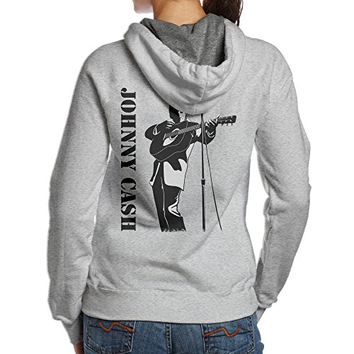 Mmo-J Women's Johnny Guitarist Cash Hooded Sweatshirt On The Back Size S Ash ()