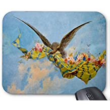 Mouse Mat Birds Fly in the Sky with Dangling Flowers and Cloths Painting Mousepad