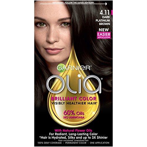 Garnier Olia Ammonia-Free Brilliant Color Oil-Rich Permanent Hair Color, 4.11 Dark Platinum Brown (1 Kit) Brown Hair Dye (Packaging May Vary)