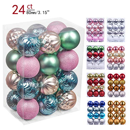 Valery Madelyn 24ct 80mm Babys First Christmas Shatterproof Christmas Ball Ornaments Decoration,Themed with Tree Skirt(Not Included)