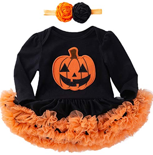 Pumpkin Costume Baby Girls Halloween Bodysuit Funny Tutu Lace Skirt (Black,6-12 Months)