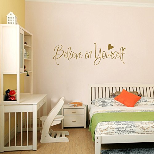AmazingWall 8x22 Believe in Yourself Wall Sticker Quote Inspiration Letters Office Living Room Bedroom Peel and Stick ()