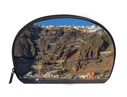 Portable Toiletry Cosmetic Bag Cliff of fira view of the sea Santorini Greece Travel Cosmetic Case Luxury Makeup Artist Bag