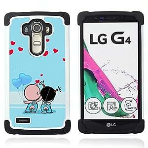 - Cute Couple Kiss Love/ H??brido 3in1 Deluxe Impreso duro Soft Alto Impacto caja de la armadura Defender - SHIMIN CAO - For LG G4 H815 H810 F500L