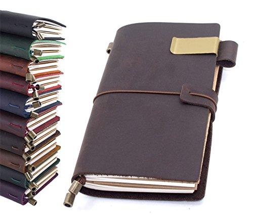(Leather Journal, Handmade Vintage Refillable Travel Diary Writing Notebook Gift for Men & Women 8.7