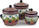 Polish Pottery Set of 3 Jars 10-inch Spring Splendor UNIKAT