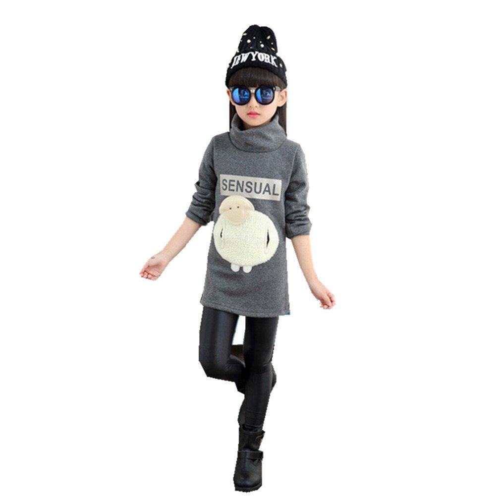 FTSUCQ Girls Fleeced Cartoon Pullover Long Shirt Sweatshirt Coat,Gray 130