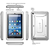 Fire 7 Case, SUPCASE [Heavy Duty] Case for 2015 Release Amazon Fire 7 Tablet [Unicorn Beetle PRO Series] Rugged Hybrid Protective Cover w Builtin Screen Protector Bumper (White/Gray)