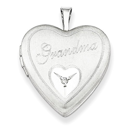 925 Sterling Silver 20mm Grandma Diamond Heart Photo Pendant Charm Locket Chain Necklace That Holds Pictures W/chain Fine Jewelry Gifts For Women For ()