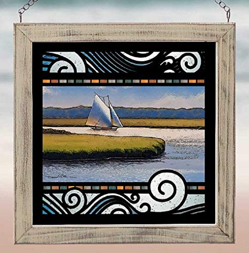 (Darby Creek Trading Sailboat in The Marsh Stained Glass Art Square Hanging Panel)